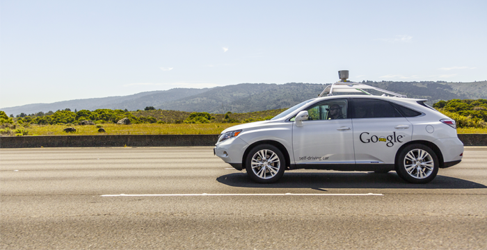 The software powering Google's cars is called Google Chauffeur and was in the testing phase by Google. at the time of this picture in April 2014.