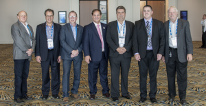 Panelists from the Telematics & Technology 2015 Forum (L-R): Udi Naamani, CEO of Fusepoint Ltd.; Harlan Siegel, vice president of LAUNCH Tech; Greg Potter, executive manager and chief operating officer of the Equipment and Tool Institute; Donny Seyfer, chairman of ASA; Bernie Porter, engineer of MAHLE; Bob Stewart, aftermarket service support manager for General Motors; and Bob Gruszczynski, OBD communication expert for Volkswagen Group of America.