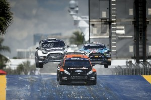 Red Bull Global Rallycross supercars fly through the air in heated wheel-to-wheel competition - Credit Red Bull Global Rallycross
