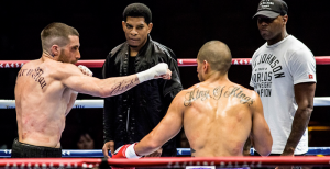 """Southpaw"" lead character Billy Hope, played by Jake Gyllenhaal, takes to the ring to face an opponent in a light heavyweight championship fight. Photo Credit: Scott Garfield courtesy of The Weinstein Company"