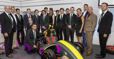 "Staff from Axalta in Austria and engineering students from the University of Applied Sciences in Vienna, Austria with Standox coated ""Mako"" design 2015 Formula Student car (Photo: Axalta)"