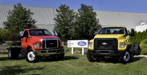 All-new Ford F-650/F-750 medium-duty trucks roll off the line on Aug. 12, for the first time in the United States. The production of the trucks at Ohio Assembly Plant, previously built in Mexico, helps secure more than 1,000 hourly UAW jobs and a $168 million plant investment in the United States. (Photo: Business Wire)