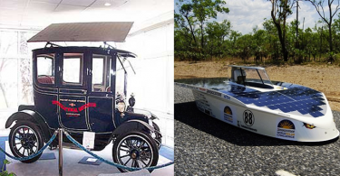 The comparison between 1955 and 2015: (Left) The solar car of 1955 was too tiny to drive; (Right) While solar cars are still being design, Bridgestone sponsors the World Solar Challenge. Photo credit: doitnow.co.za