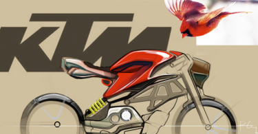 LTU student Peter Corey used Axalta's inaugural North American Automotive Color of the Year, Radiant Red, as inspiration for this sketch of a classic cardinal and futuristic motorcycle.