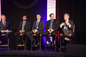 From left to right: Bill Long, AASA; Nathaniel Beuse, NHTSA; David Williams, DENSO; Donny Seyfer, ASA; and Xavier Mosquet, Boston Consulting Group, participated in the Connected Car Panel held during AASA's Vision Conference.