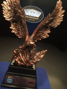 Goodyear was named a recipient of the prestigious 2016 Secretary of Defense Employer Support Freedom Award (pictured) for its exceptional support of Guard and Reserve employees.