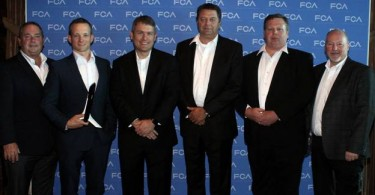 Pictured left to right: Dan Ehde, OES business unit director, Trico Products Corp.; Bryan Musialowski, OES account manager, Trico Products Corp.; Scott Thiele, global chief purchasing officer, FCA; Chuck Bastedo, account manager, Trico Products Corp.; Dave Parker, executive director OE sales, Trico Products Corp.; and Bret Hardy, director of Mopar purchasing and supplier quality, FCA.