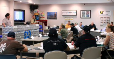 Jeff Matauch (left) and Charley Hutton (right) lead a PPG restoration seminar.