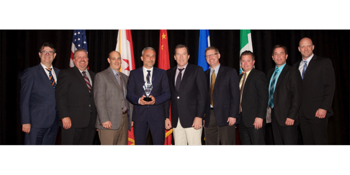 From L to R: Fotios Katsardis, president and CEO – Temot International; Scott Bennett, principal – Bennett Auto Supply/Chairman, Aftermarket Auto Parts Alliance Inc.; Tim Bruin, director, Traditional Aftermarket – Bosch Automotive Aftermarket North America; Enrico Manuele, regional president – Bosch Automotive Aftermarket North America; Steve Thorne, founder and CEO – Eastern Warehouse Distributors; Joe Bergsieker, director of program group sales – Bosch Automotive Aftermarket North America; Doug Arnold, vice president, Independent Aftermarket Sales – Bosch Automotive Aftermarket North America; Cameron Young, National Sales Manager, Automotive – Bosch Automotive Aftermarket Division Canada; Dan Rader, vice president, Product & Category Management – Aftermarket Auto Parts Alliance Inc.