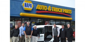 From left to right: Henry Walston, owner, NAPA Auto Parts - Barnes Motor & Parts Co.; Keith Flatley, DC general manager, Highpoint NAPA; Alan Hinnant, owner, NAPA Auto Parts - Barnes Motor & Parts Co.; Robert Kirkland, owner, NAPA Auto Parts - Barnes Motor & Parts Co.; Gordon Thorne, regional manager under car, NAPA; Mike Douglas, DSM Under Car, NAPA; Mike Kittelson, Southeast regional sales manager, SKF