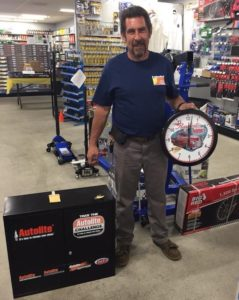 Bob Durling owner of Durling Mechanical in Fairfield, California with some of the prizes he won at the Vaca Valley Auto Parts customer appreciation barbeque.