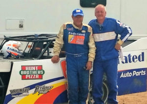 """For the second year in a row, Federated Auto Parts member Parts Distributing Inc. hosted a """"Get Dirty with Kenny"""" event for 20 of its top customers last month at Plymouth Dirt track in Plymouth, Wisconsin. PDI has been a Federated Auto Parts member proudly serving Southeastern Wisconsin for over 23 years. Left to Right: Kenny Schrader and Darrel T. Radmer; Darrel's Transmission & Engine Repair of Waukesha, Wisconsin."""