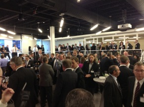 Guest mingle at the dedication ceremony for the new headquarters.