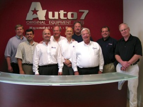 Auto 7 Inc. President Steven Kruss (third from left) is joined by fellow Auto 7 executives and members of the company's Distributor Council at a meeting at Auto 7's corporate office in Miramar, Fla. Pictured from left to right: Tim Renehan, president of Stone Wheel, Chicago; Mike Mohler, vice president of National Pronto Association, Grapevine, Texas; Steven Kruss, Auto 7 president; Jim Murphey, Auto 7 senior vice president and Council founder; Larry Szpyra, Auto 7 vice president of product management and quality assurance; Raun Smith, president of Ken Smith Automotive, Chattanooga, Tenn.; Cliff Friedrich, Auto 7 account manager; Joe Sotolongo, Auto 7 brand manager, and Jim Olson, vice president of Full Service Automotive, San Antonio, Texas. Not pictured: Bob Yeoman, president of Automotive Distributor Warehouse, Columbus, Ohio.