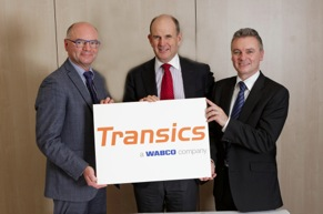 WABCO acquired Transics International to expand its fleet management solutions to commercial vehicle operators globally. From left to right: Walter Mastelinck, Chief Executive Officer and Founder, Transics International; Jacques Esculier, WABCO Chairman and Chief Executive Officer; Nick Rens, WABCO Executive Officer and Vice President, Trailer Systems, Aftermarket and Off-Highway.