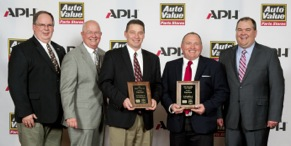From left to right: Rich Vierkant, vice president of merchandising at APH; John Bartlett, CEO of APH; Bruce Herman, director of sales — program groups and national accounts at East Penn Manufacturing; Mark Hoffman, sales manager at East Penn Manufacturing; and Corey Bartlett, president of APH.