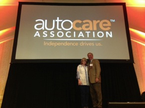 auto care association president and ceo kathleen schmatz and chairman tim lee.