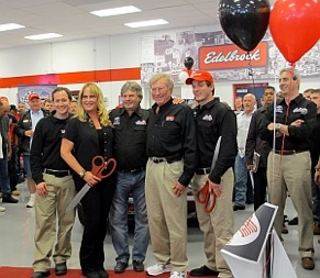(l to r) jordan brenner, christi edelbrock, otc president marc brenner, edelbrock chairman vic edelbrock and justin brenner celebrate the opening of the ohio technical college edelbrock performance academy.